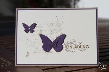 Einladung in Aubergine