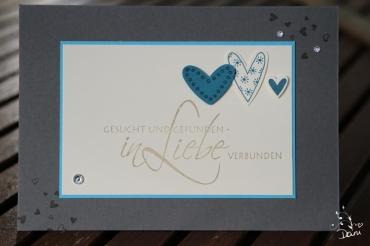 Hochzeitskarte in Türkis,Petrol & Anthrazit Nr.1