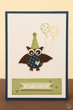 Happy Birthday Eule in blau